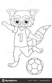 Coloring Book Red Panda Football Player Cartoon Style Isolated