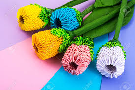 Paper Folded Flower Multicolored Paper Origami Flowers On Pastel Background Studio