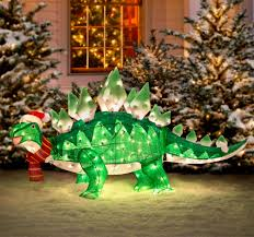 Dinosaur Lawn Decorations Light Up Animated Dinosaur Christmas Lawn Ornament Jurassic