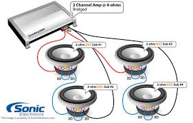 subwoofer wiring diagrams sonic electronix amp bridged see diagram