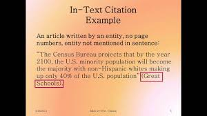 Mla In Text Citation Introduction And Articles By Entities
