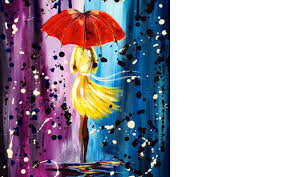 easy acrylic painting lesson city walk girl in the rain umbrella art you