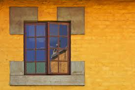 architecture wood house window glass view home wall reflection color facade blue door material interior design