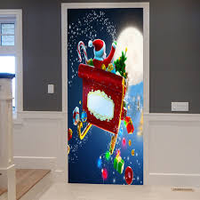 Colormix 38.5*200cm*2pcs Christmas Santa With Gifts Pattern Door ...