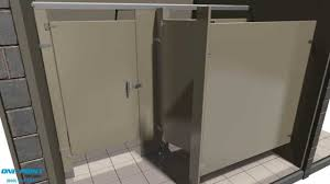 Bathroom Partition Walls Toilet Partition Installation Powder Coated Steel Alcove Youtube