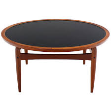 reversible flip top danish modern round teak coffee table for