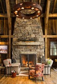 ... Cozy Ideas Rustic Stone Fireplace 9 Cabin Living Room Ideas With Mantel  Wood Flooring Hearth ...