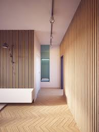 contemporary living space with texture wood panel walls nonagon style