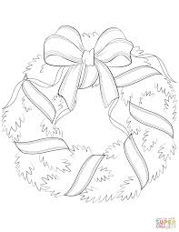 Small Picture Christmas Wreath with Red Bow coloring page Free Printable