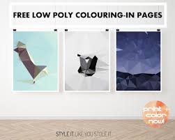 coloring in book free pages low poly trio you know you want