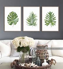 printable wall art beach decor wall art prints tropical decor kitchen wall decor monstera leaf palm