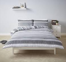 new tesco basic grey stripe duvet cover 2 pillowcases set kingsize 1 of 1only 0 available