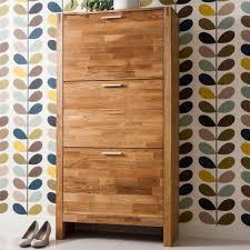Vermont Solid Oak Shoe Storage Cabinet 3 Drawer
