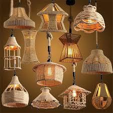 retro loft vintage hemp rope pendant light lamp industrial bulb hanging diy with plug