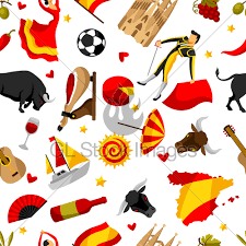 Traditional Symbols Spain Seamless Pattern Spanish Traditional Symbols And O Gl