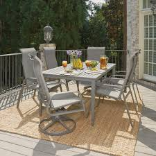 round outdoor dining sets. Home Styles Daytona Charcoal Gray 7-Piece Aluminum Round Outdoor Dining Set Sets B