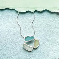 3 stones sea glass necklace uncommongoods