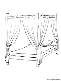 Small Picture Canopy bed coloring page Coloring pages