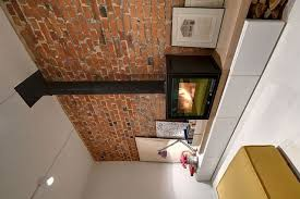 living room design ideas exposed brick wall fireplace