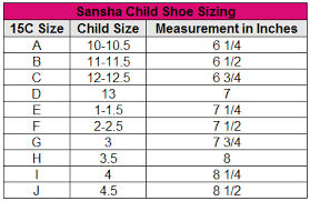 Actual Size Chart For Toddler Ballet Shoes Child Sparkle