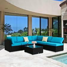 outdoor patio furniture. Kinbor 7pcs Outdoor Patio Furniture Sectional Pe Wicker Rattan Sofa Set Outdoor Patio Furniture
