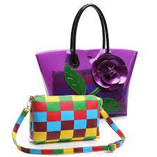 2 Ks Dámské Květy Design Tote Tašky Transparentní Tašky Na Rameno Elegantní Party Bags