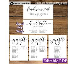 Rustic Seating Chart Cards Template Printable Seating Chart Alphabetical 51