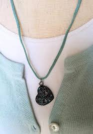 jewelsinspire antiqued heart pendant necklace with aqua blue rhinestones faux suede cord jewelry romantic jewelry necklaces for women