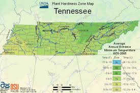 Us Growing Zone Chart Usda Map Of Plant Hardiness Zone In Tennessee
