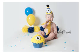 Minion Boys Cake Smash Outfit Bunting Photography Prop First