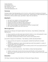 1 Beer Sales Representative Resume Templates Try Them Now