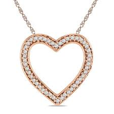 diamond accent outline heart pendant in 10k rose gold