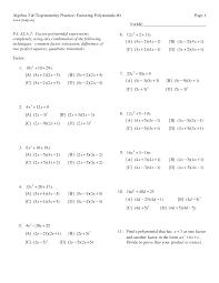kuta worksheet factoring trinomials a 1
