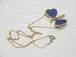 lapis lazuli 18k gold erfly necklace european c 1950 s