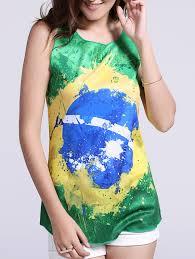 Tank Top Green L Women S Chic Brazil Hit Color Print Tank Top