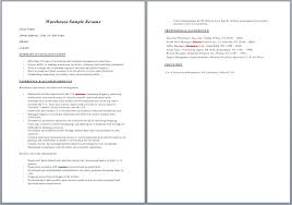 Warehouse Resume Simple Warehouse Resume Skills Resume Badak