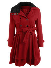a line skirted coat with belt red xl