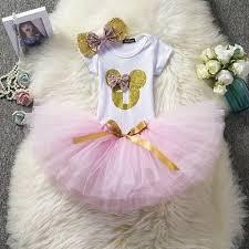 Baby Girl 1st Birthday Dress Cake Smash Pink Photoshoot Outfit Tutu