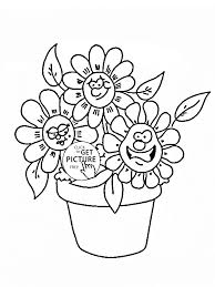 Funny Cartoon Flowers Coloring Page For Kids Flower Coloring Pages