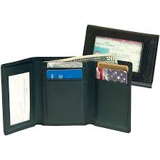 Tri Fold Window Mens Tri Fold Wallet With Double Id Window In Genuine Leather