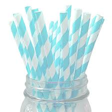 Light Blue Straws Light Blue Striped 25pc Paper Straws Lanterns And More