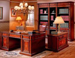 wooden home office. Office : Classic Interior Design For Luxury Home With A Wooden Desk And Swivel Chair Large Bookcase Also Antique Chandelier P