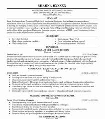 Assistant Chef Resumes Junior Sous Chef Resume Sample Chef Resumes Livecareer
