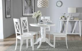 gallery kingston round white dining table with 4 kendal chairs