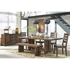 signature design by ashley chadoni dark brown dining room table with four chairs and dining bench