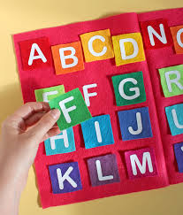 alphabet matching game made with heat transfer vinyl