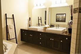 ... Bathroom Oval Mirror Ideas Double L Shaped Brown Finish Mahogany Cabinet  Dark Decoration Vanity Lights Pattern
