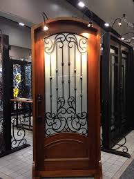 eboli solid wood wrought iron door with glass panels