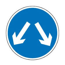 Vehicles May Pass Either Side Traffic Sign