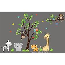 baby nursery wall decals safari jungle childrens themed 83 x 138 inches animals trees repositionable removable reusable wall art better than vinyl  on safari themed nursery wall art with amazon baby nursery wall decals safari jungle childrens themed